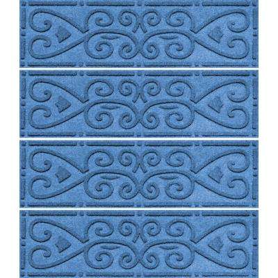 Medium Blue 8.5 in. x 30 in. Scroll Stair Tread Cover (Set of 4)