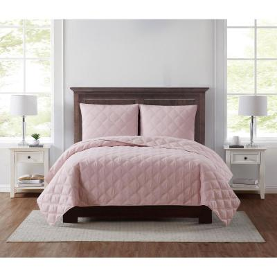 Everyday 3D Puff 3-Piece Quilted Blush Full/Queen Quilt Set