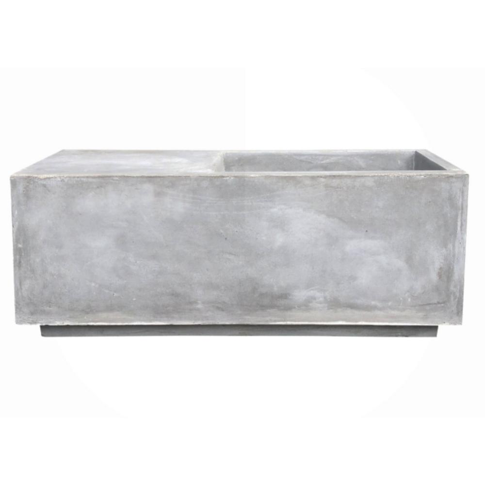 KANTE 37.4 in. L Natural Lightweight Concrete Modern Square Outdoor Planter