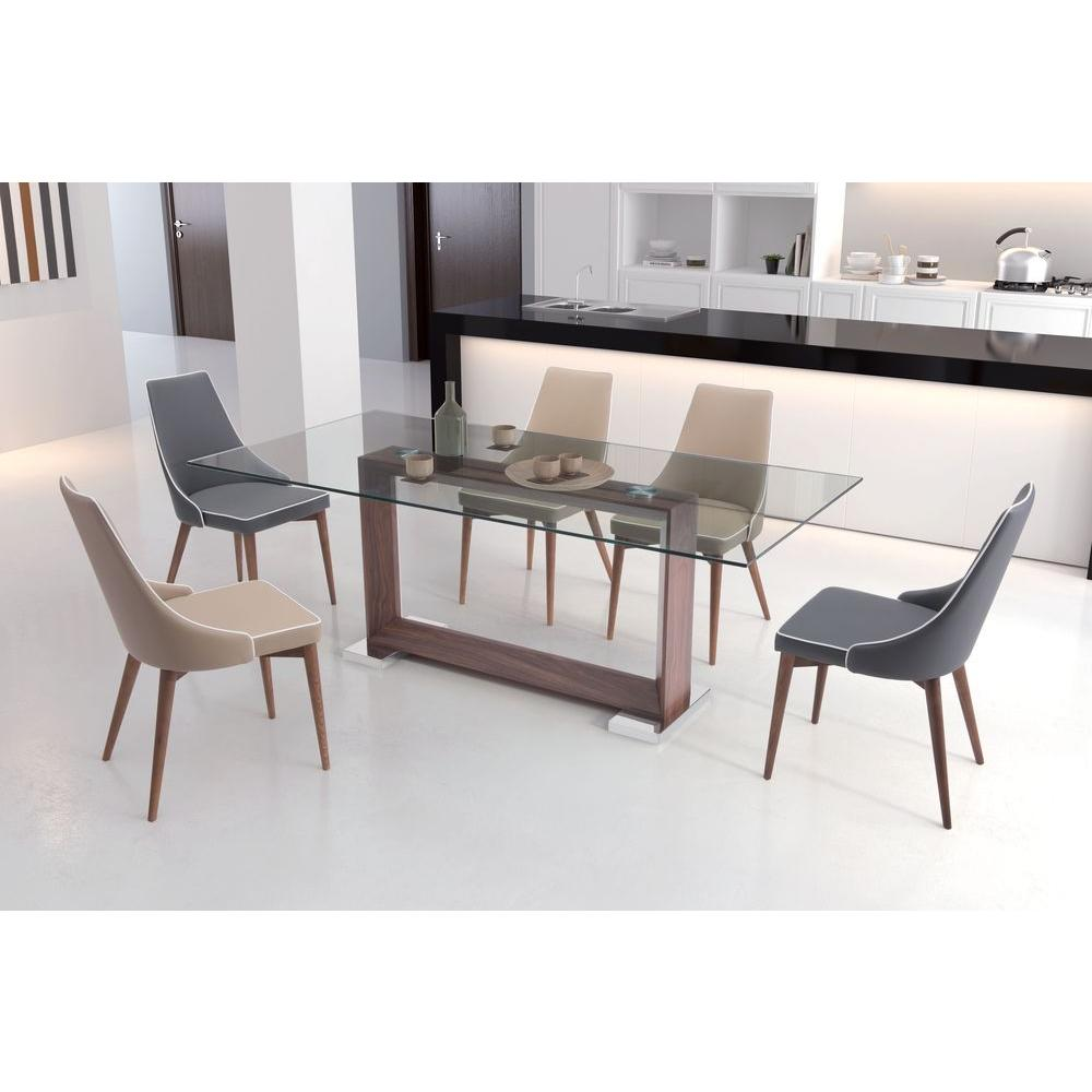 rectangle glass dining room table. ZUO Oasis Walnut Dining Table 100288  The Home Depot