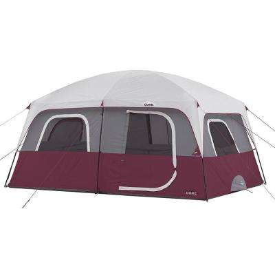 Straight Wall 14 ft. x 10 ft. 10-Person Cabin Tent with 2 Rooms and Rainfly in Red