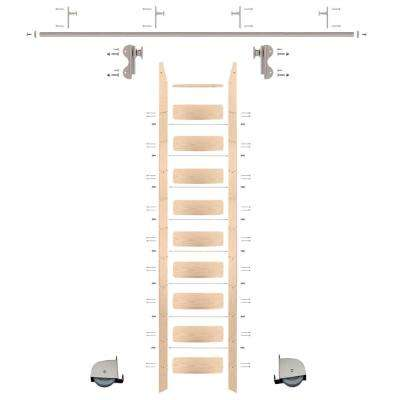 10 ft. Red Oak Ladder (11 ft. Reach) Satin Nickel Contemporary Rolling Hook Hardware 8 ft. Rail and Vertical Brackets