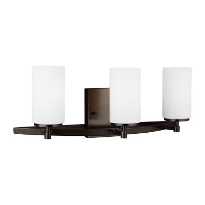 Alturas 22 in. W. 3-Light Brushed Oil Rubbed Bronze Vanity Light with Satin Etched Glass Shades