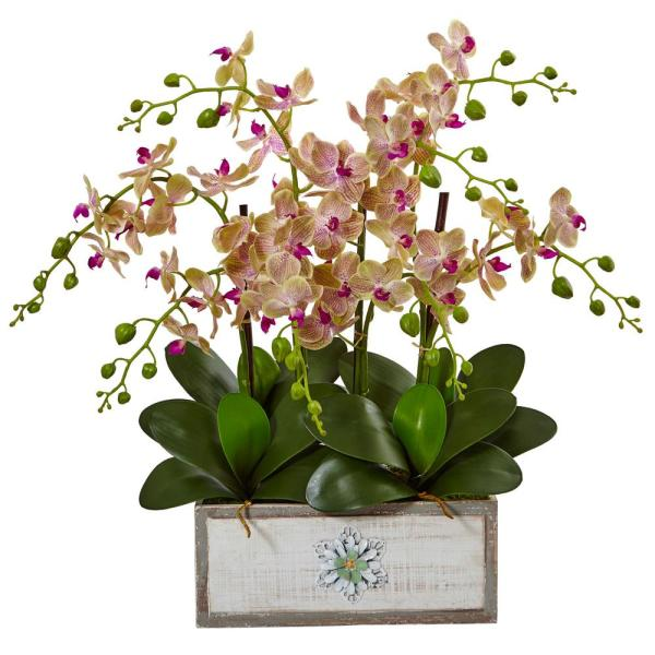Nearly Natural Indoor Phalaenopsis Orchid Arrangement in Decorative Wood Planter