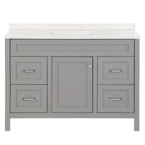 Maywell 48.5 in. W x 18.75 in. D Bath Vanity in Sterling Gray with Cultured Marble Vanity Top in White with White Sink