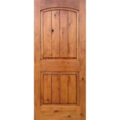 36 in. x 96 in. Knotty Alder 2-Panel Top Rail Arch V-Groove Solid Left-Hand Wood Single Prehung Interior Door