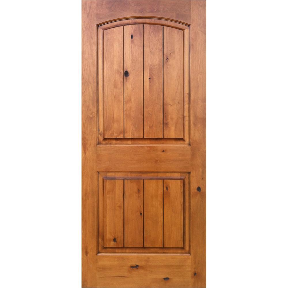 Good Knotty Alder 2 Panel Top Rail Arch V Groove Solid Left Hand Wood Single  Prehung Interior Door KA.002V.16.68.134.LH   The Home Depot