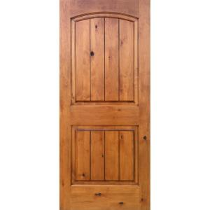 Krosswood Doors 36 In X 80 In Knotty Alder 2 Panel Top Rail Arch V Groove Solid Right Hand