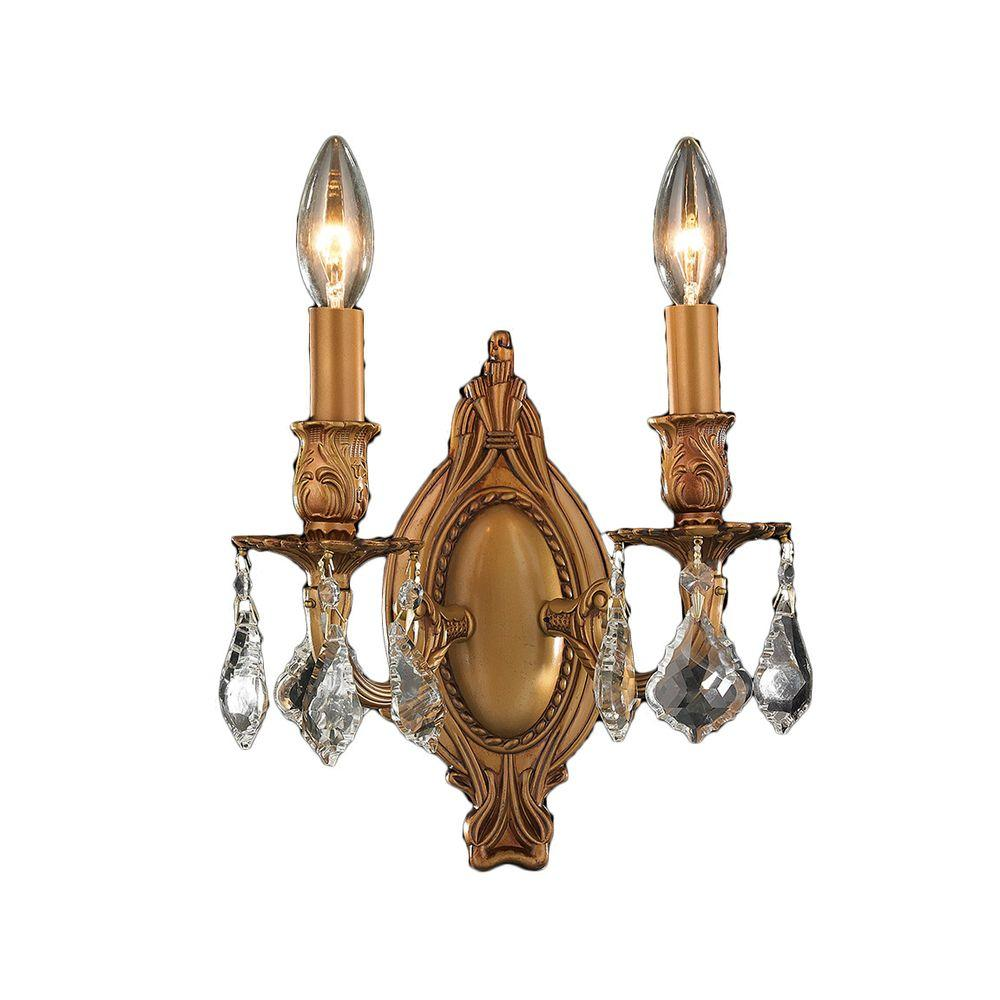 Worldwide Lighting Windsor 2-Light French Gold Clear Crystal Sconce
