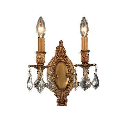 Windsor 2-Light French Gold Clear Crystal Sconce