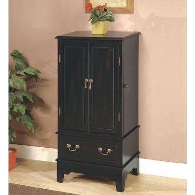 Gabrielle Rubbed Through Black Jewelry Armoire