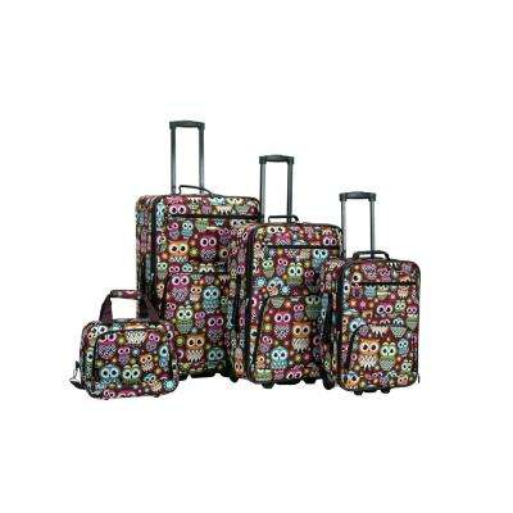 Rockland Expandable Jungle 4-Piece Softside Luggage Set, Owl