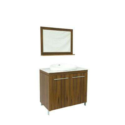 40 in. W X 21 in. D Vanity in Medium Brown With White Marble Vanity Top with White Basin and Mirror