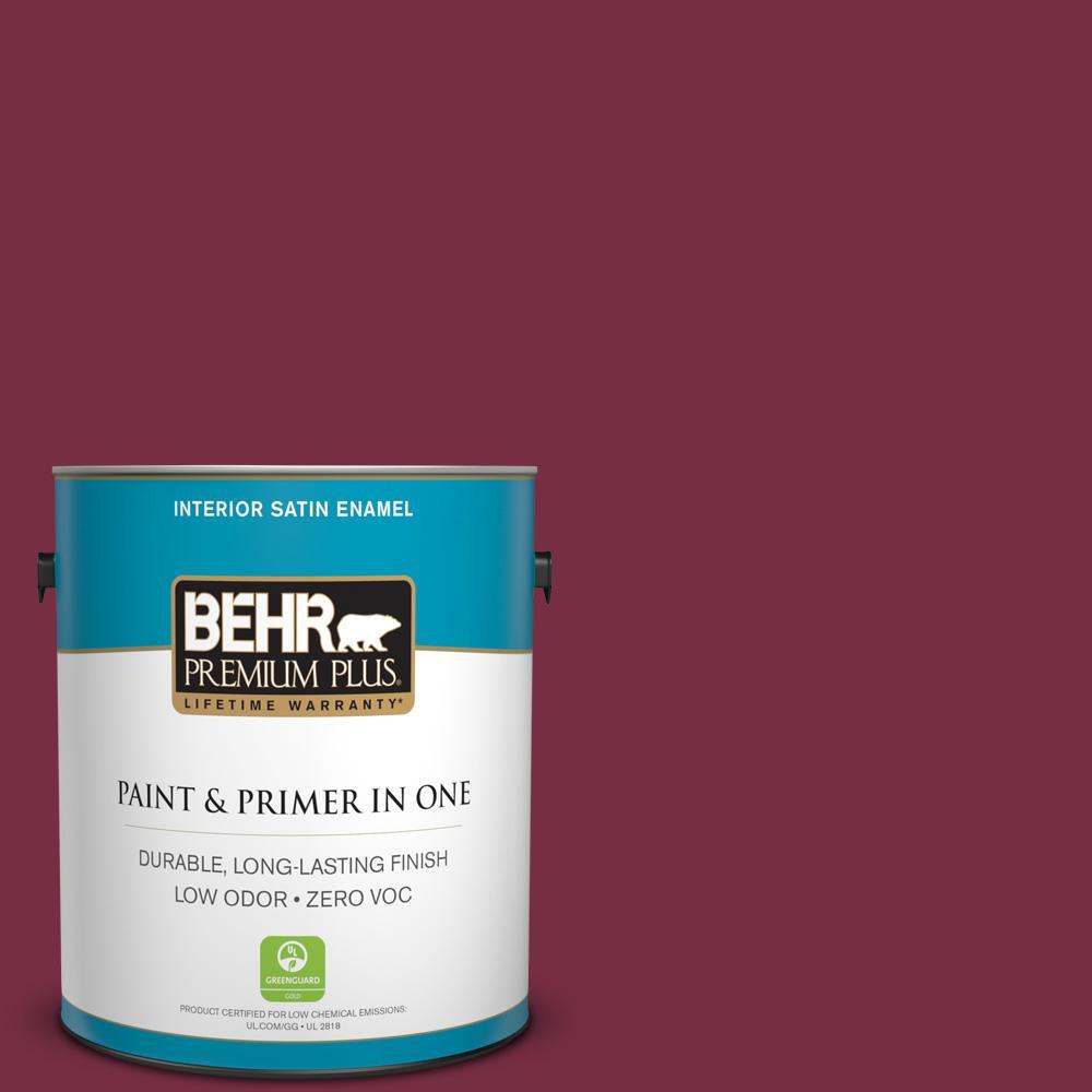 BEHR Premium Plus 1 gal. #S-H-110 Wine Tasting Satin Enamel Zero VOC Interior Paint and Primer in One