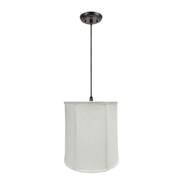 1-Light Oil Rubbed Bronze Pendant with Off White Empire Fabric Shade