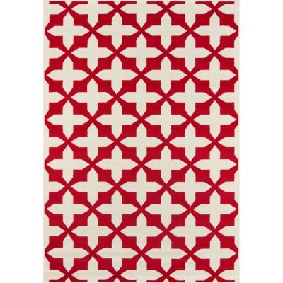 Baja Crisscross Red 1 ft. 8 in. x 3 ft. 7 in. Indoor/Outdoor Area Rug