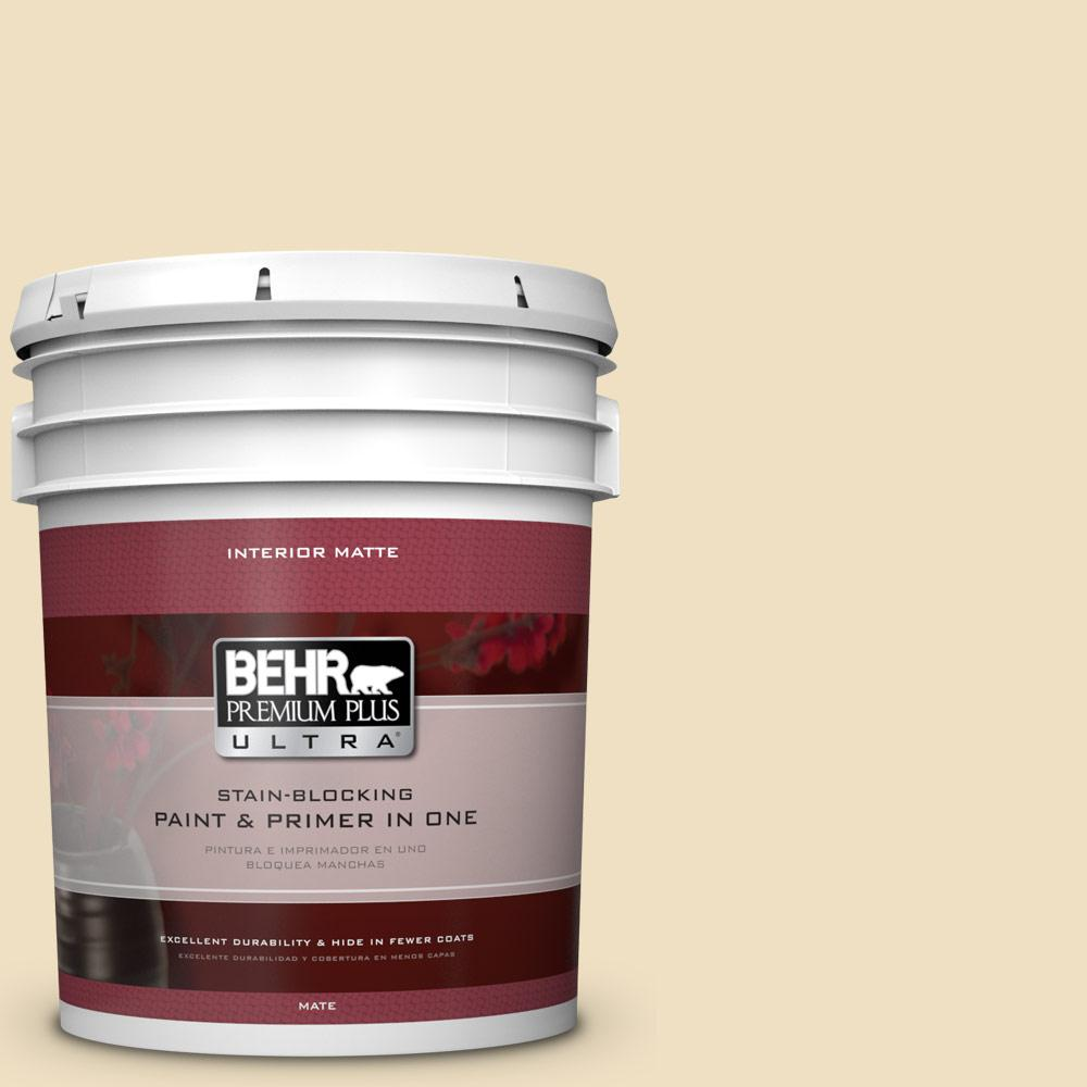 BEHR Premium Plus Ultra Home Decorators Collection 5 gal. #HDC-NT-17 New Cream Flat/Matte Interior Paint