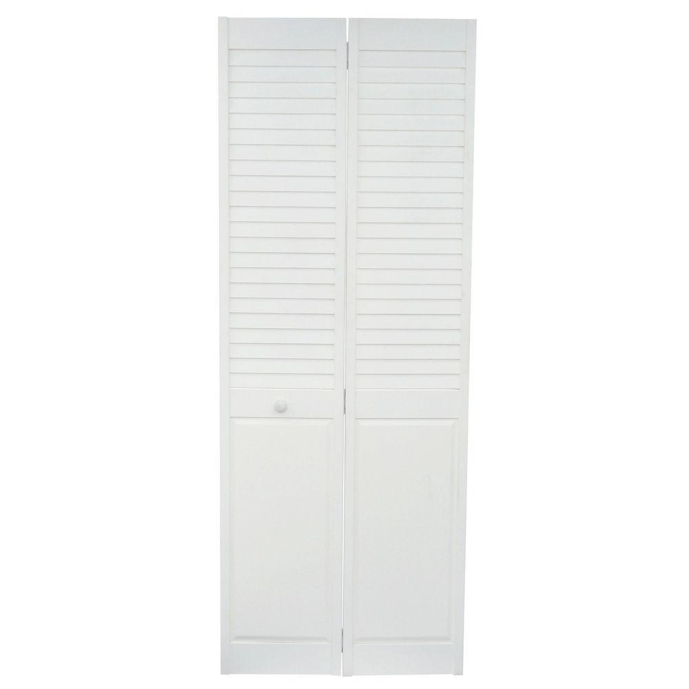 Home fashion technologies 30 in x 80 in louver panel primed solid wood interior closet bi fold for Solid wood interior doors home depot