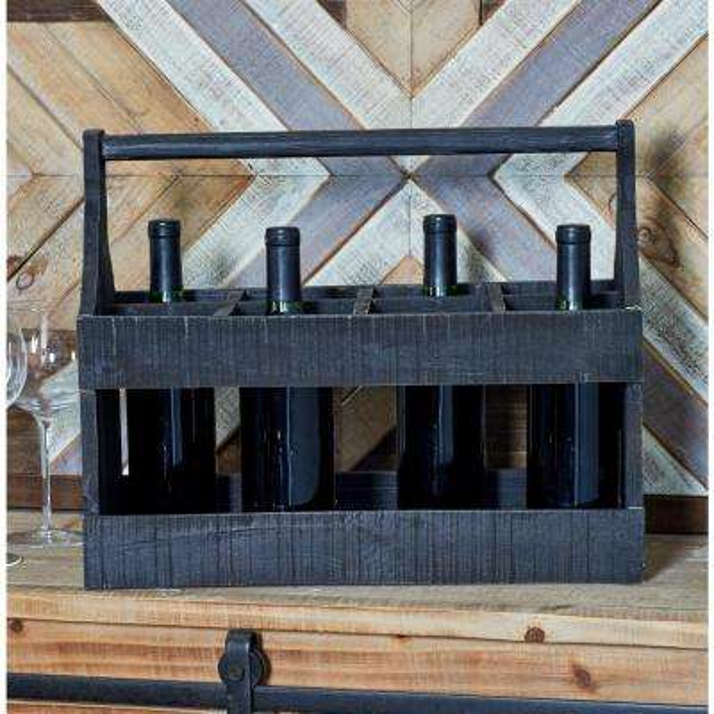 8-Bottle Black Rectangular Wooden Wine Caddy