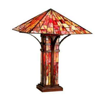 25 in. Bronze/Red Mission Table Lamp with Pull Chain