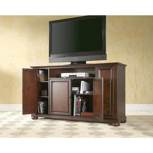 Alexandria 60 in. Brown Wood TV Stand Fits TVs Up to 60 in. with Storage Doors