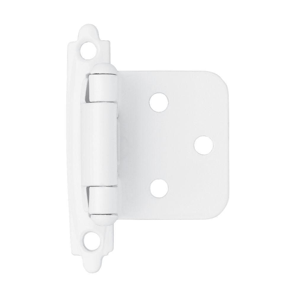 Brainerd White Self-Closing Overlay Hinge (1-Pair)