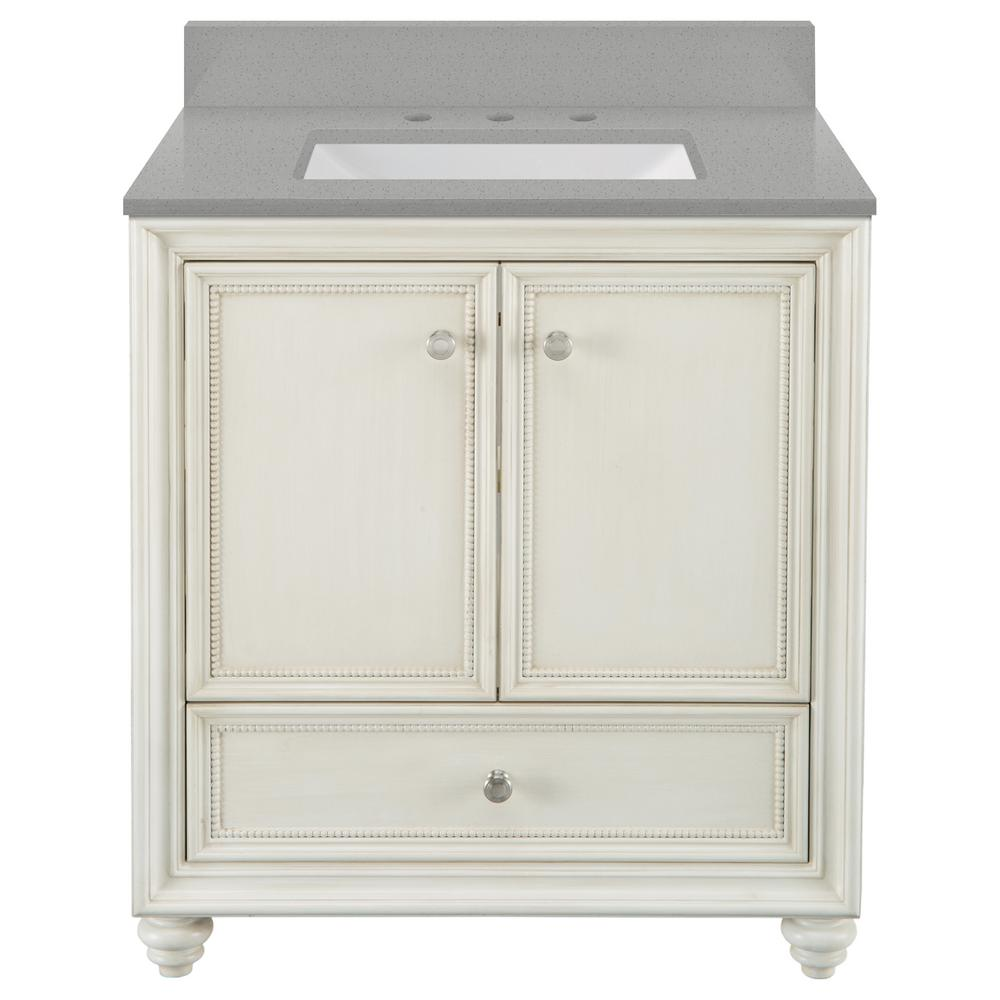 Home Decorators Collection Dellwood 31 in. W x 22 in. D Vanity in Antique White with Engineered Quartz Vanity Top in Steling Grey with White Sink