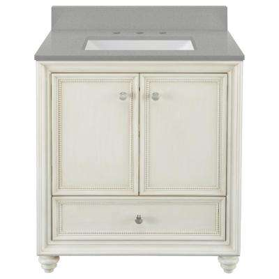 Dellwood 31 in. W x 22 in. D Vanity in Antique White with Engineered Quartz Vanity Top in Steling Grey with White Sink