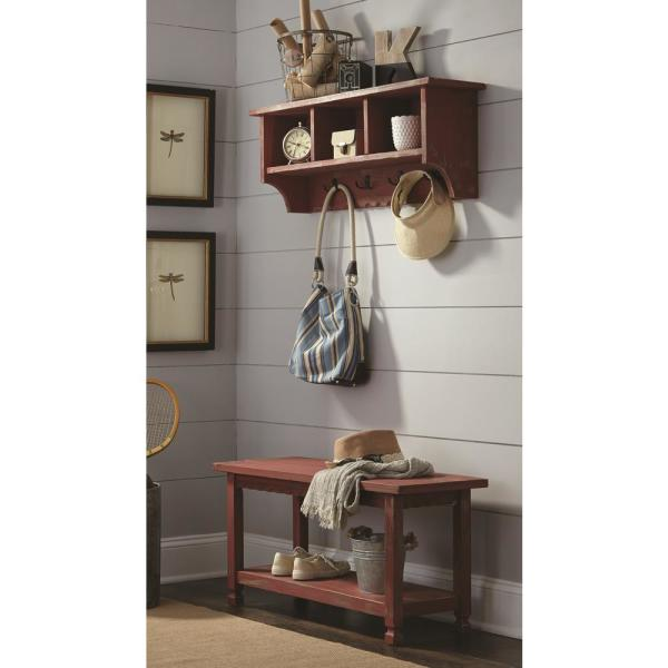 Alaterre Furniture Country Cottage Red Antique Coat Hooks and Bench Set