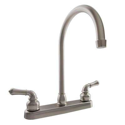 2-Handle Standard Kitchen Faucet with Hi-Arcing J-Spout in Brushed Satin Nickel