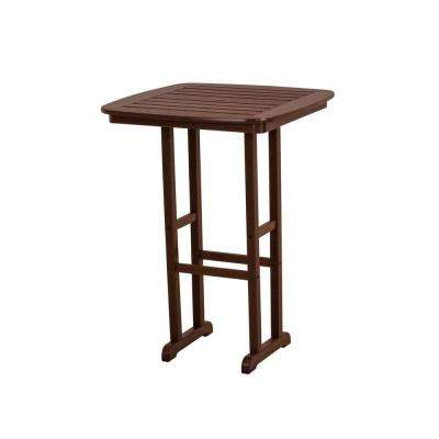 Nautical Mahogany 31 in. Plastic Outdoor Patio Bar Table