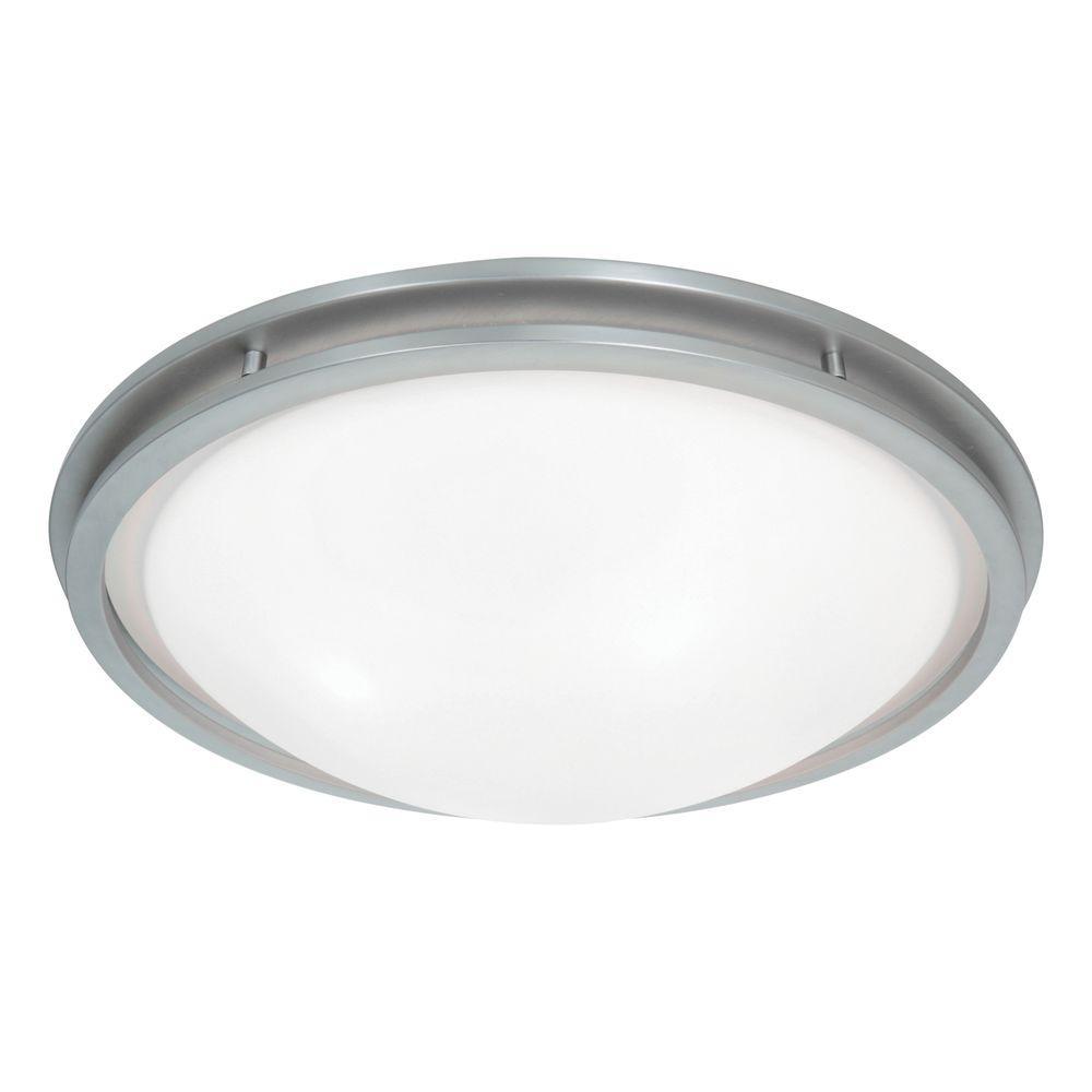 Aztec 1-Light Brushed Steel LED Flushmount with White Glass Shade
