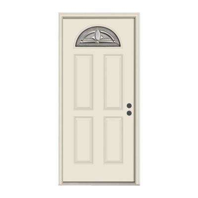 36 in. x 80 in. Fan Lite Blakely Primed Steel Prehung Left-Hand Inswing Front Door w/Nickel Caming and Brickmould