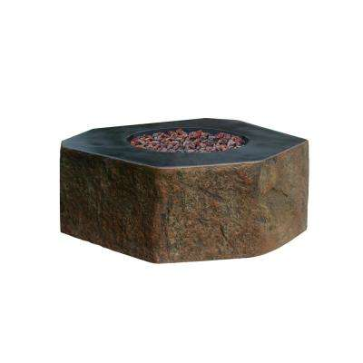 Columbia 42 in. x 42 in. x 16 in. Hexagon Concrete Natural Gas Fire Pit Table in Brown