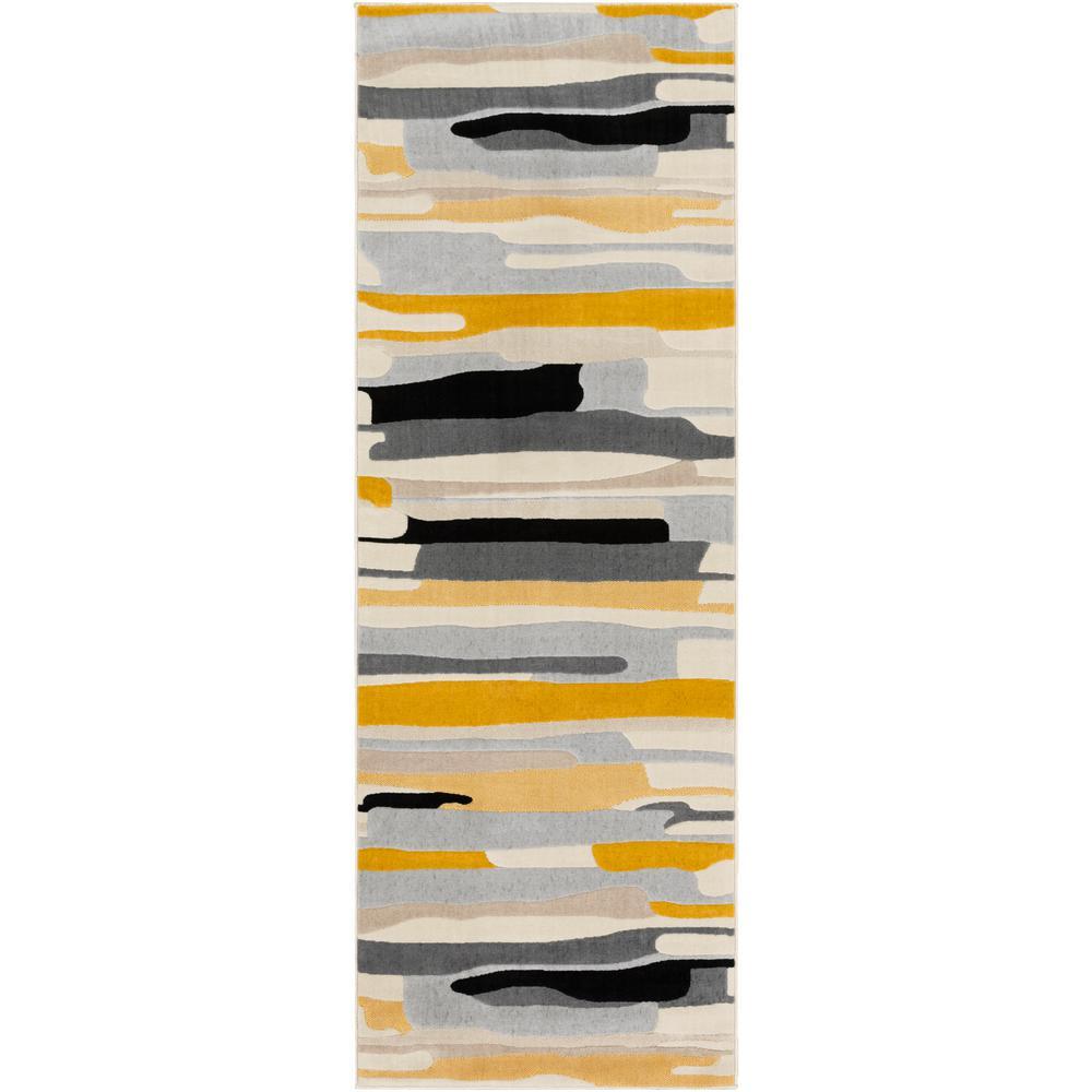 Astvin Mustard 2 ft. 7 in. x 7 ft. 3 in. Abstract Runner Rug