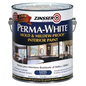Zinsser Gal PermaWhite Mold And MildewProof Satin Interior - Moisture resistant paint for bathrooms