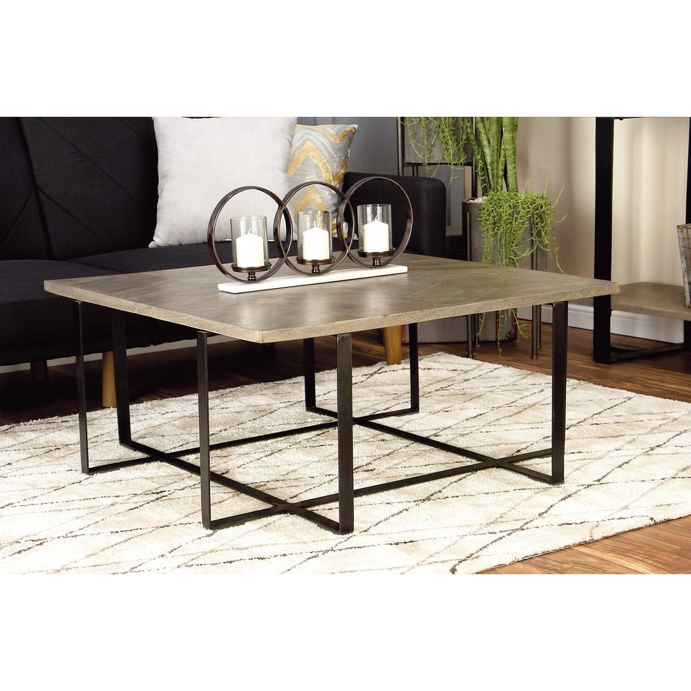 Litton Lane Light Brown And Black Chevron Patterned Coffee Table