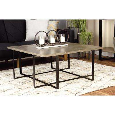 Light Brown and Black Chevron-Patterned Coffee Table