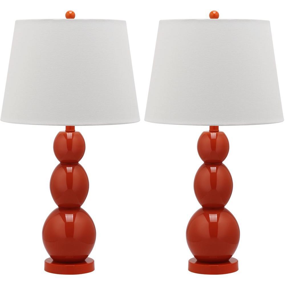 Jayne 27.5 in. Blood Orange Three Sphere Glass Lamp (Set of