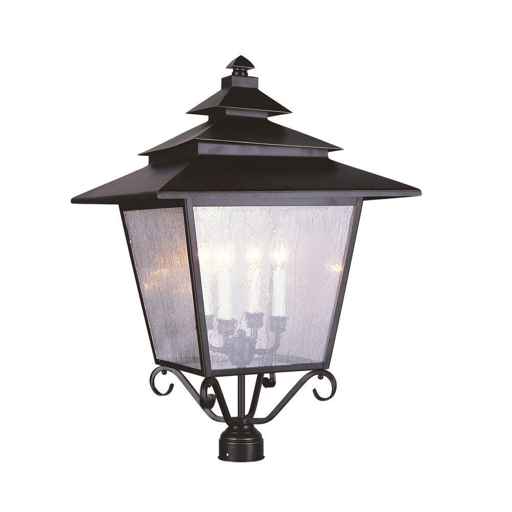 Bel Air Lighting 4-Light Antique Gold 3-Tier Seeded Post Top Light