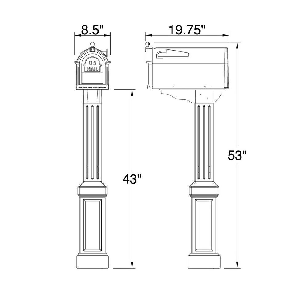 Craftsman Residential Mailbox and Post Kit Durable Rust Proof Home Porch White