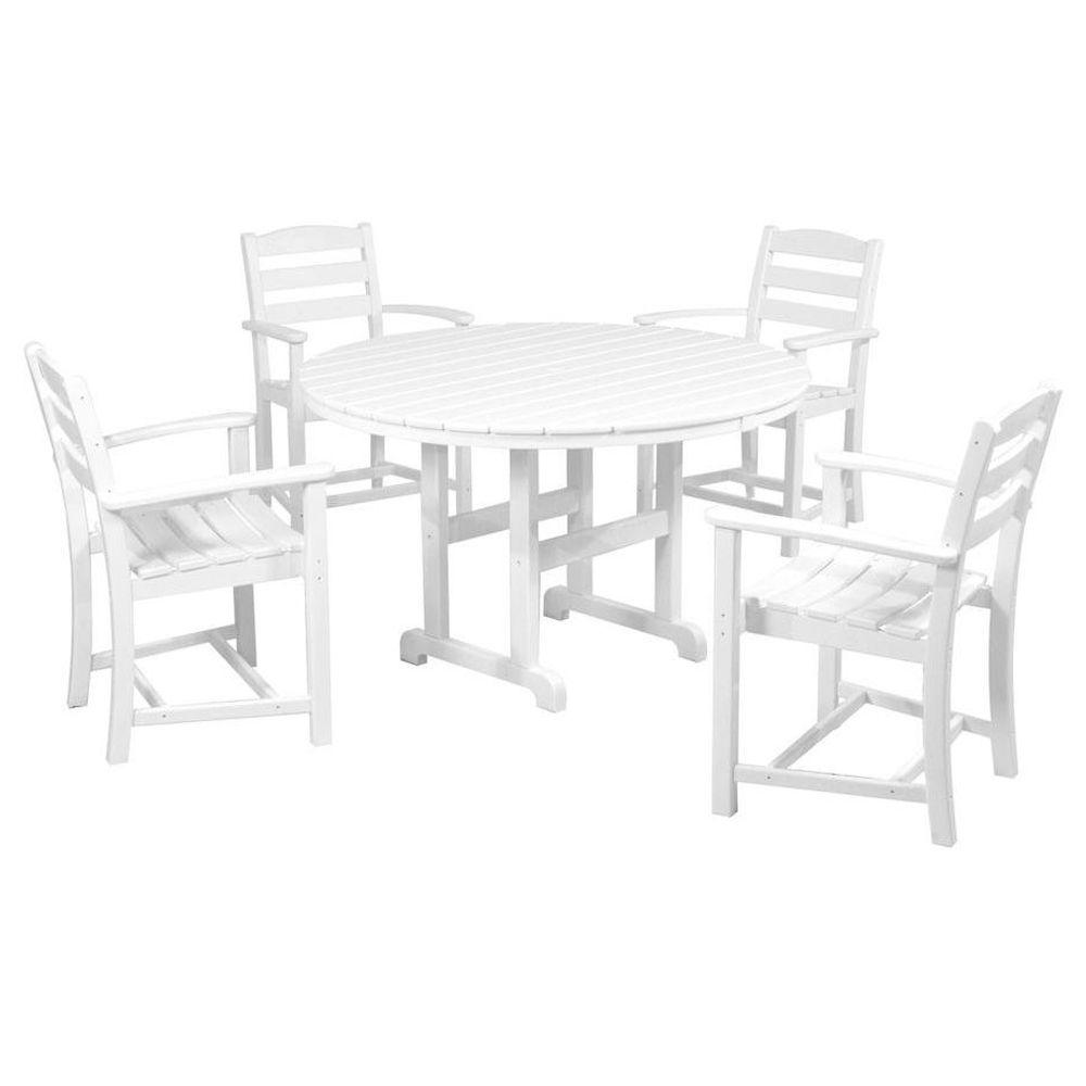 POLYWOOD La Casa Cafe White 5-Piece Plastic Outdoor Patio Dining Set  sc 1 st  The Home Depot & POLYWOOD La Casa Cafe White 5-Piece Plastic Outdoor Patio Dining Set ...