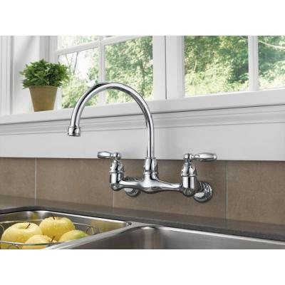 Choice 2-Handle Wall Mount Kitchen Faucet in Chrome