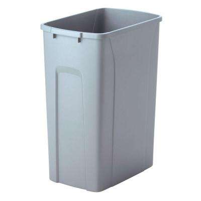 18 in. H x 14 in. W x 9 in. D Plastic 35 Qt. Replacement Pull Out Trash Can in Gray