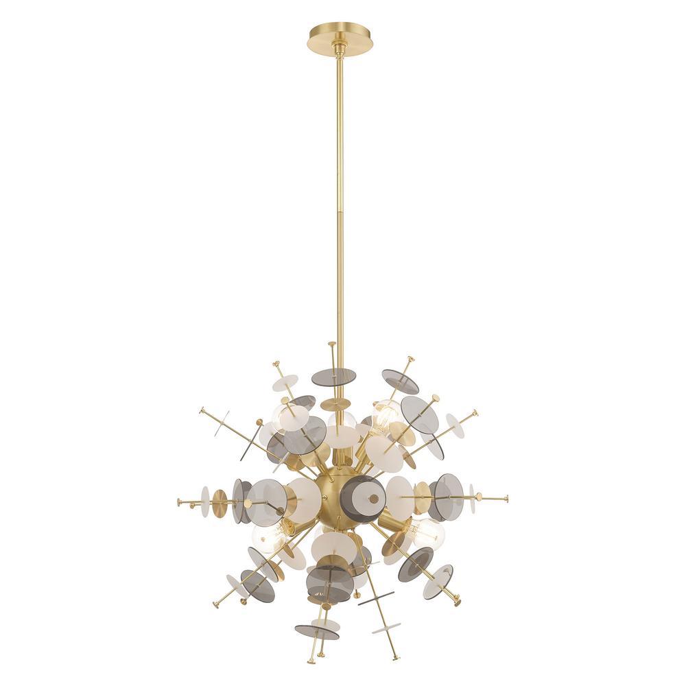 Circulo 6-Light Satin Brass Starburst Pendant Chandelier