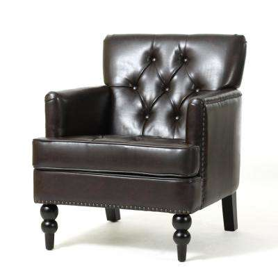 Malone Brown Leather Tufted Club Chair
