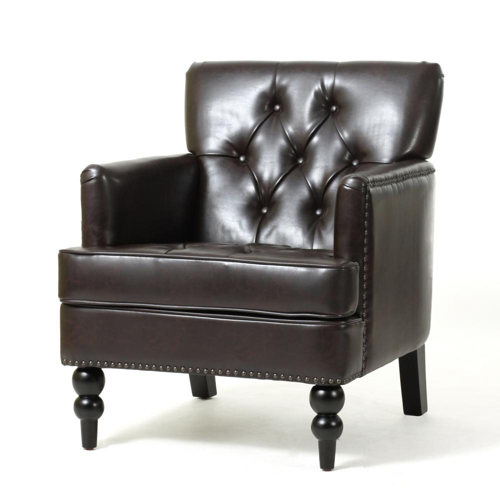 Superb Noble House Malone Brown Leather Tufted Club Chair 931 The Pdpeps Interior Chair Design Pdpepsorg