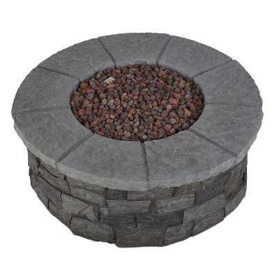 Sedona 43 in. x 16 in. Round Cast Concrete Propane Fire Pit in Gray with Natural Gas Conversion Kit