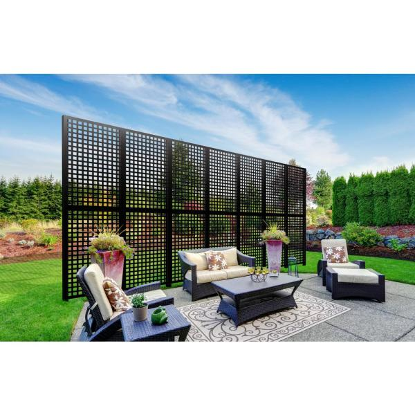 3 ft. x 5 ft. Black Classic Decorative Privacy and Fence Panel