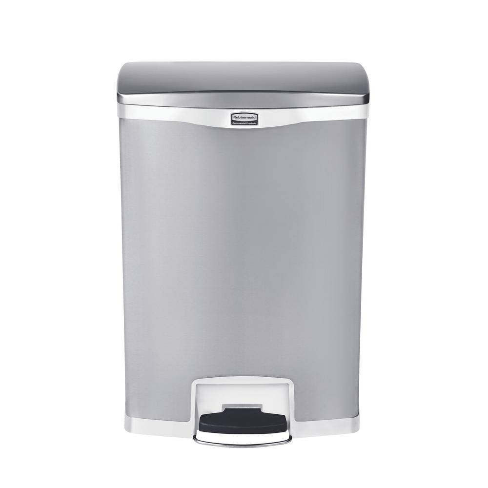 Rubbermaid Commercial Products Slim Jim Step On 24 Gal White Stainless Steel Front Trash Can Rcp1902004 The Home Depot